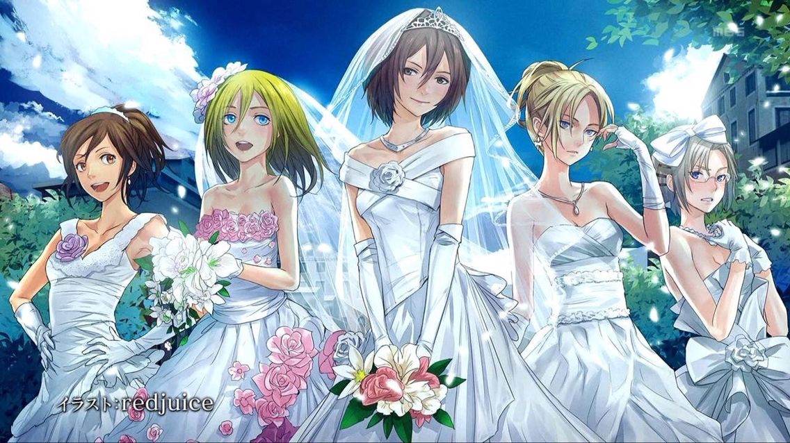The women of Attack on Titan in Wedding dresses Sasha, Krista ...