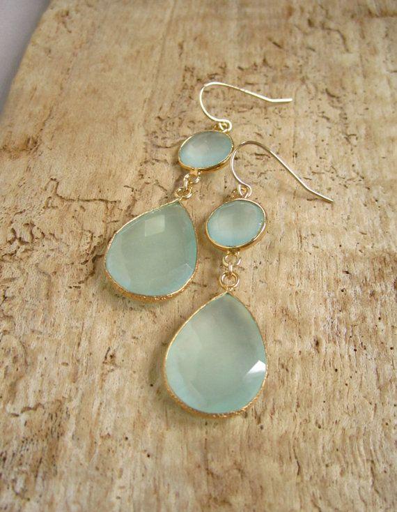 Sea Green Chalcedony Earrings Double Drop Gold by julianneblumlo, $98.00