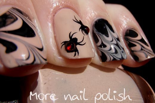Water-marble spiderweb nail art | Nail jewels, Halloween ...