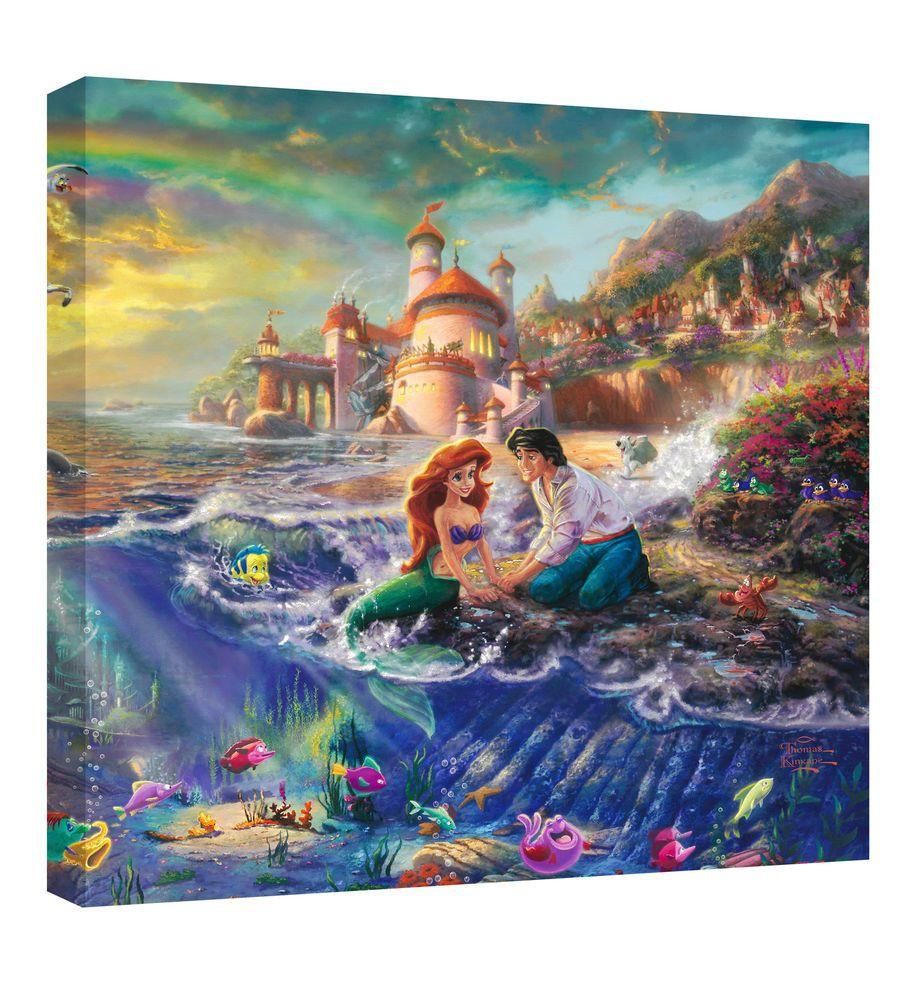 Beautiful Thomas Kinkade Disney The Little Mermaid Small Canvas - Amazing Price