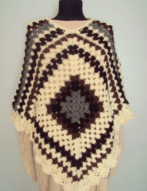 Boho Poncho Granny Square Poncho Crochet Afghan Poncho by sebsurer ...