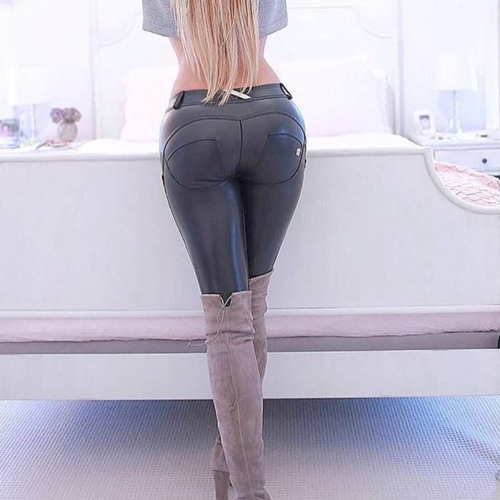 b1dc692dac59 PU Leather Low Waist Leggings Women Sexy Hip Push Up Pants Jegging Gothic  Leggins Jeggings Who would not want to show off our beautiful curve