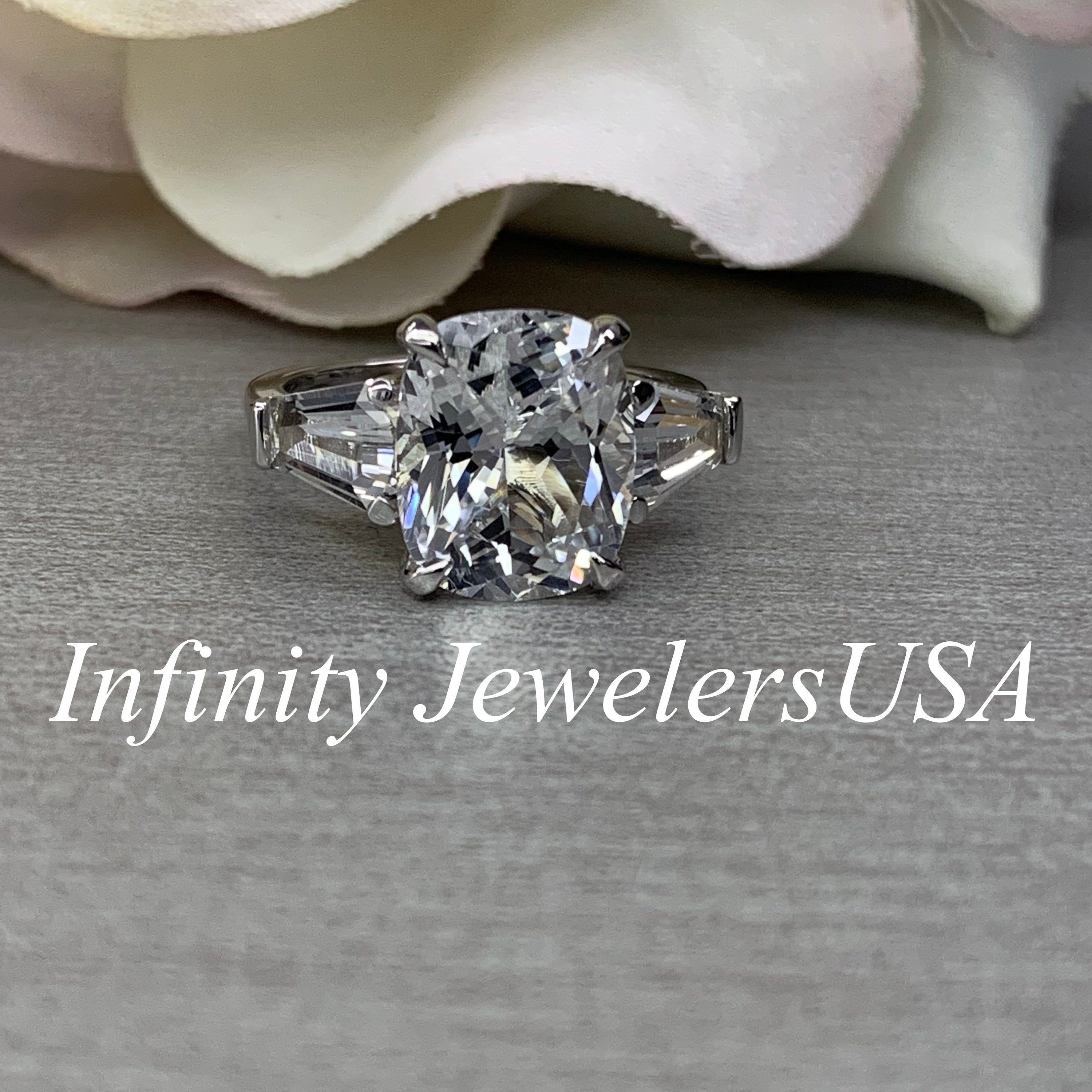 Cushion Cut Certfied Moissanite Engagement Ring Cushion Shape Moissanite Engagaement Ring With Trapizoid Sides Forever One Moissanite Ring #cushionengagementring