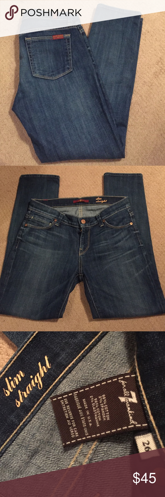 7 For All Mankind slim straight jeans! Gorgeous pair of slim straight 7 For All Mankind jeans! Size 26. Inseam 27. Signs of general wear/fading but good condition. Smoke free home! 7 For All Mankind Jeans Skinny
