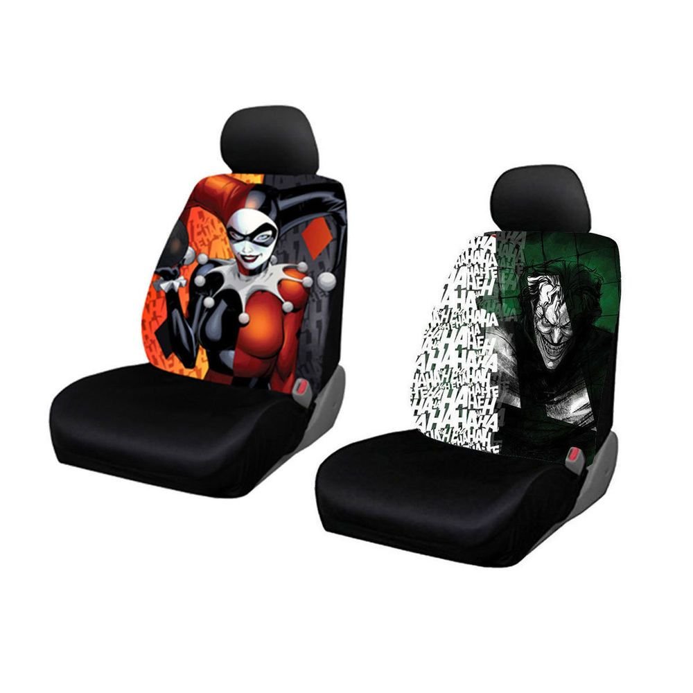 New Suicide Squad Joker Harley Quinn Laughs Car Truck 2 Front Seat Covers Set