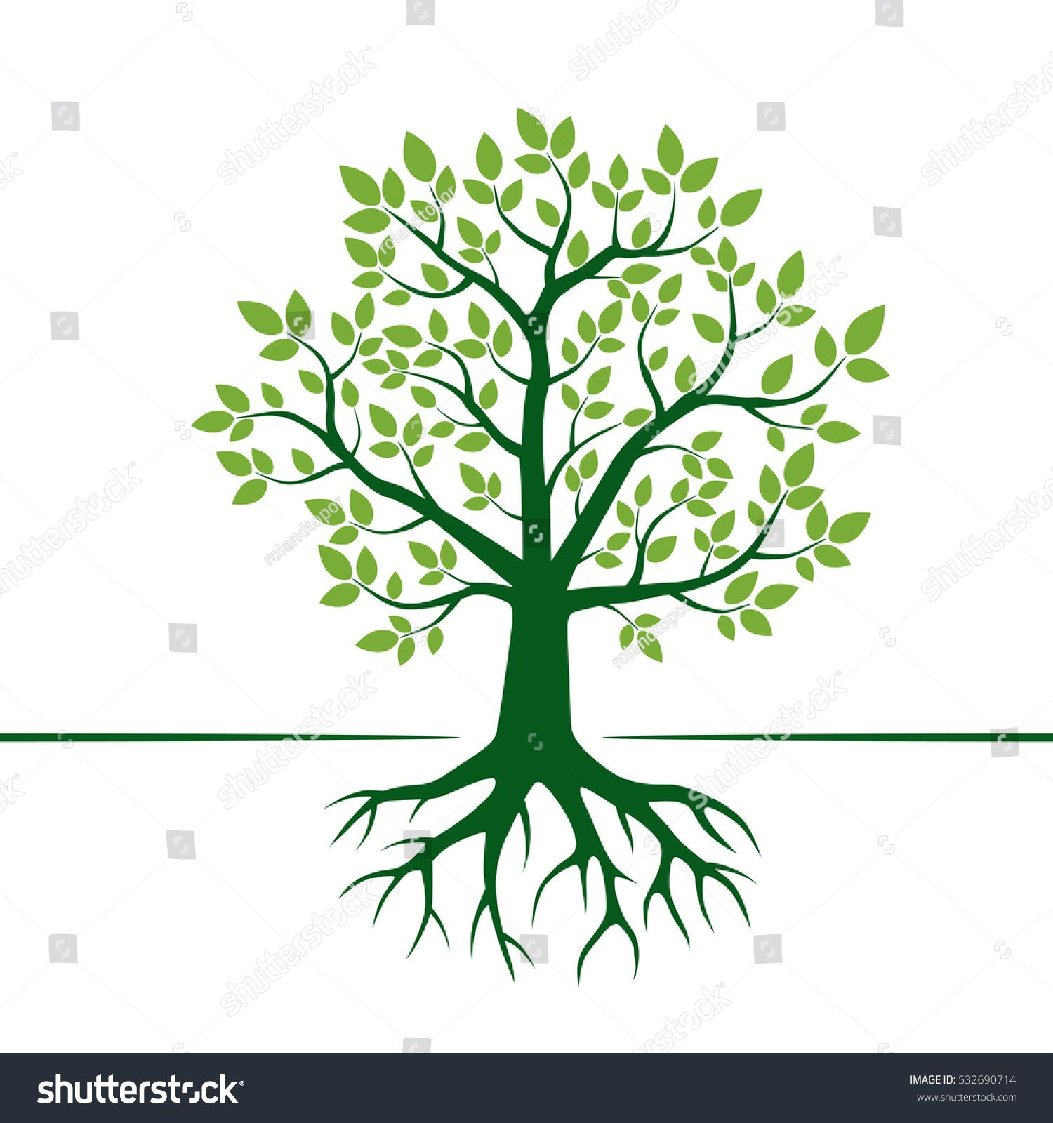 stock-vector-green-vector-tree-and-roots-vector-illustration ...
