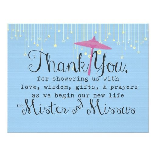 Thank You Note For Wedding Gifts: Wedding Shower Thank You Note Pink Umbrella