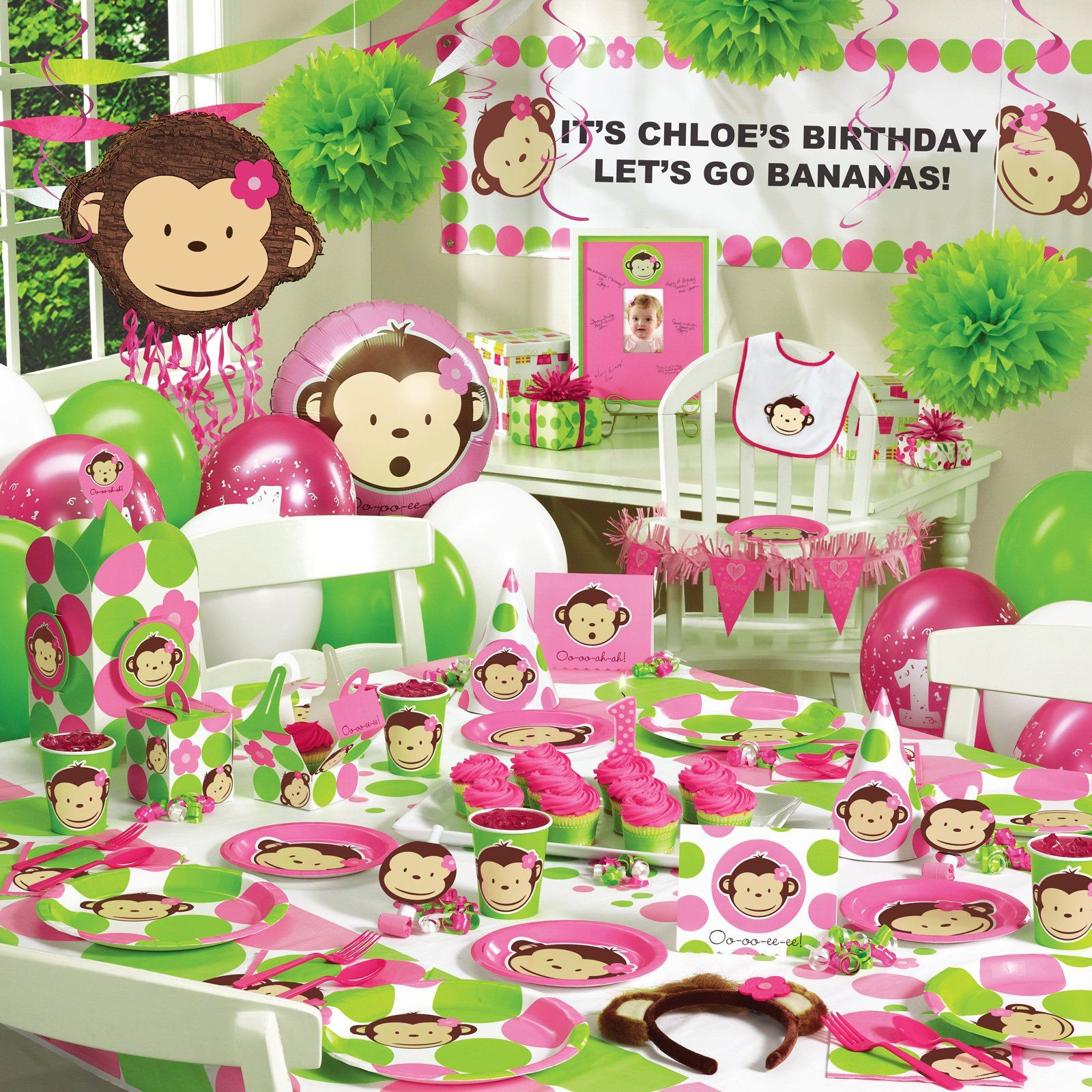 Pink Mod Monkey 1st Birthday Ultimate Party Pack