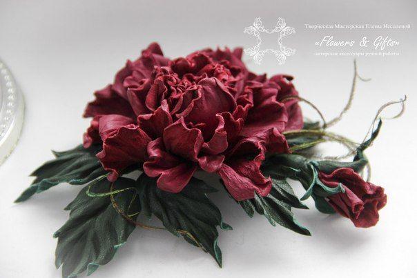 роза бордо из кожи