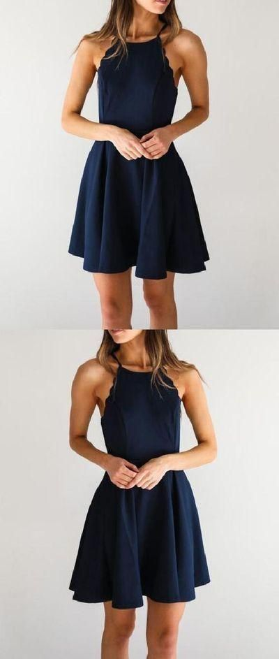 Cheap Comfortable Simple Homecoming Dresses, Homecoming Dresses Short, Navy Blue Homecoming Dresses