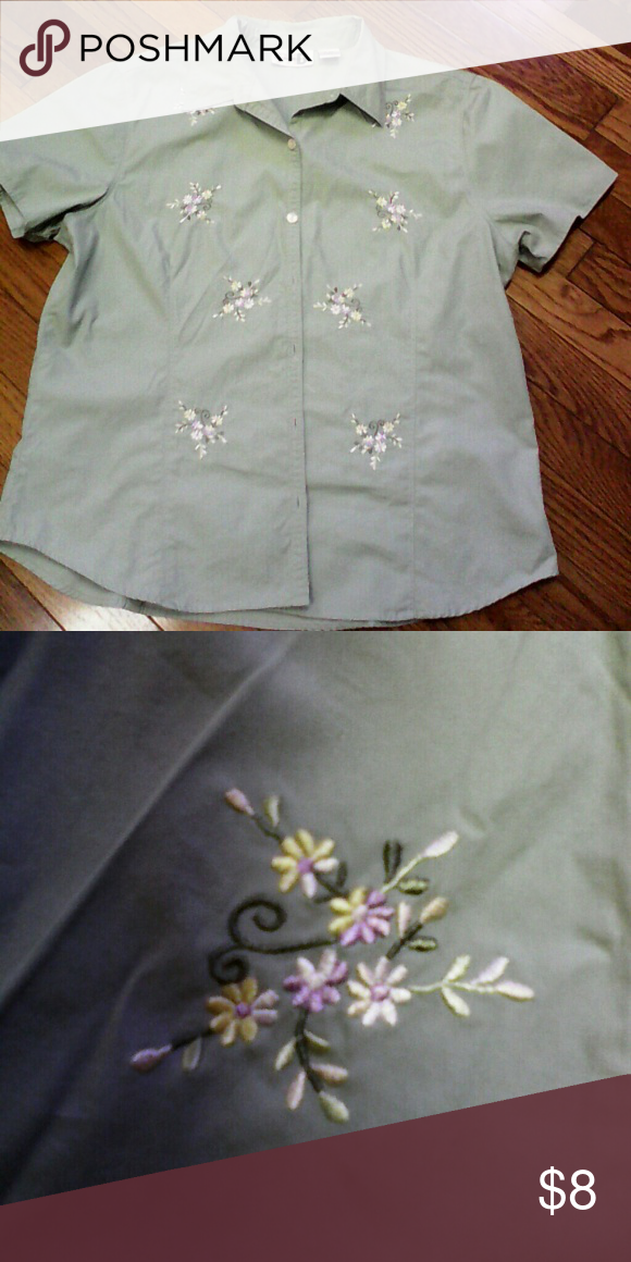 Women s pretty green shirt with embroidery Women s pretty green shirt for  casual wear. It has multicolored embroidery ( purple  067de2b21