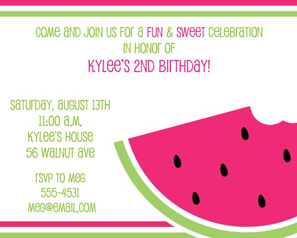 sweet invitations | watermelon party | pinterest | watermelon, Birthday invitations
