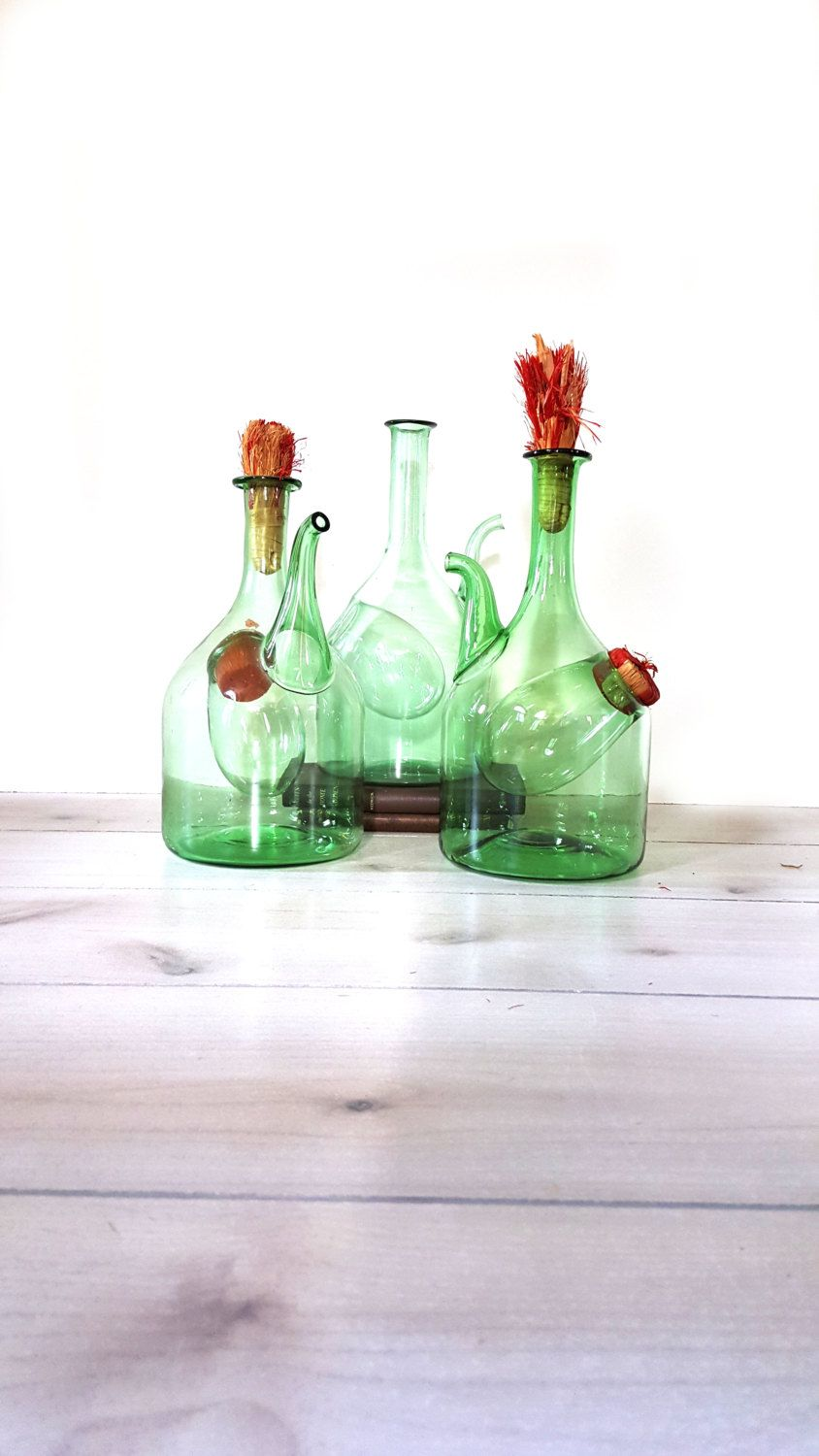 Italian Wine Carafe / Green Jug  Vintage Green Glass Wine Jug ~ Ice Chamber / Hand Blown Demijohn, Iced Tea, Sangria Pitcher- For ONE by LUCKYHOMEFINDS on Etsy