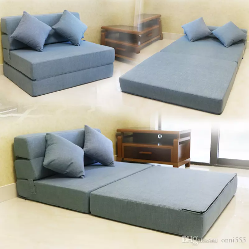 Tri Fold Foam Folding Mattress And Sofa Bed For Guests With Thick 11 Fabric Cover Colors Size 195 150cm