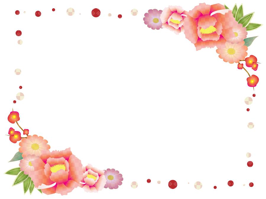 フリーイラスト 牡丹と梅の花の飾り枠 デザイン 花の飾り 飾り枠