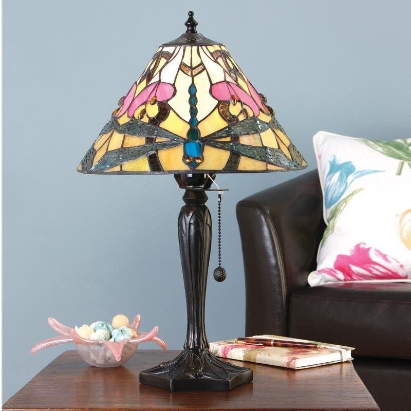 Lampada Da Tavolo Tiffany Con Fiori Rosa Sfondo Giallo E Libellule