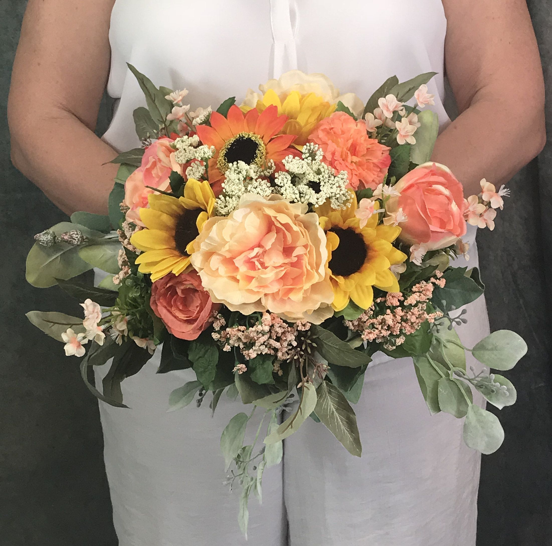 Coral Sunflower Cascading Silk Bridal BouquetSunflower