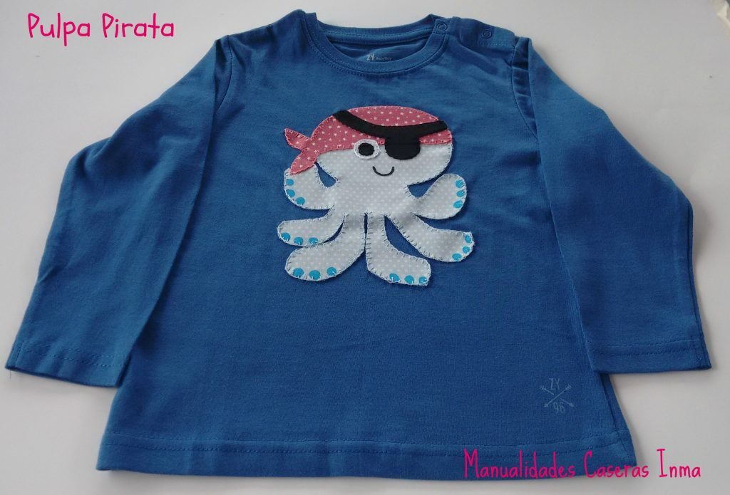 Manualidades Caseras Inma detalle camiseta niño Pulpo Pirata 1