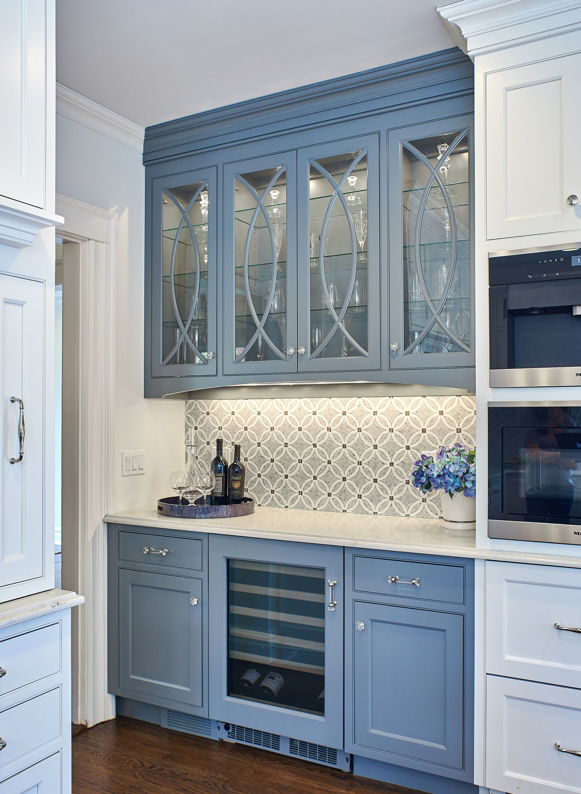 Inset cabinets, white kitchen, gray island, transitional kitchen ...