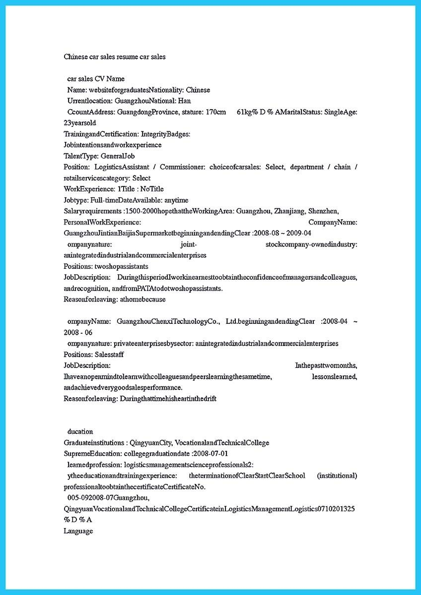 Automotive Resume Awesome Writing A Clear Auto Sales Resume  Resume Template .