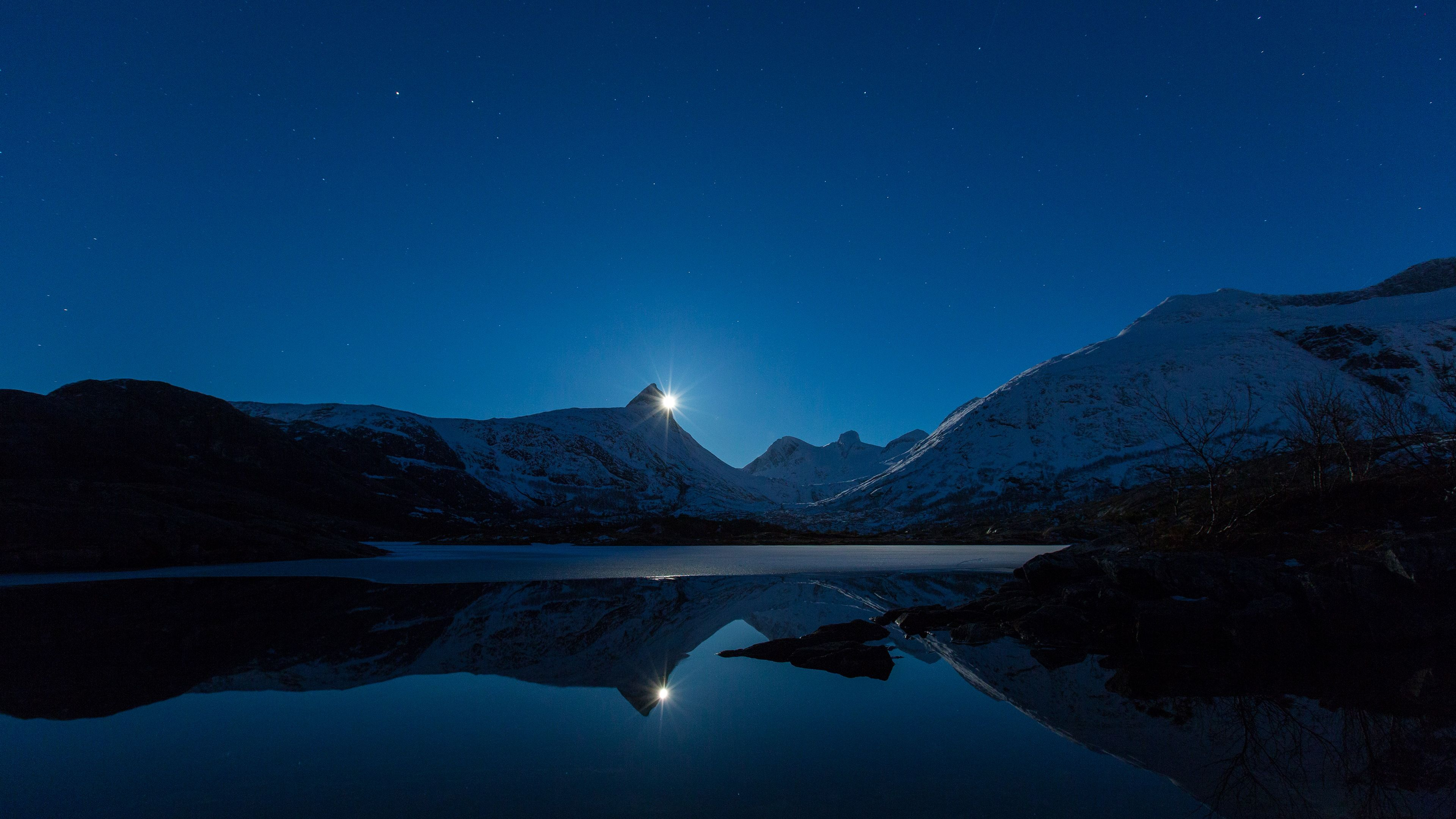 Wallpaper Ndscape Ultra Hd K The Moon And Mountains Reflecting In The Water
