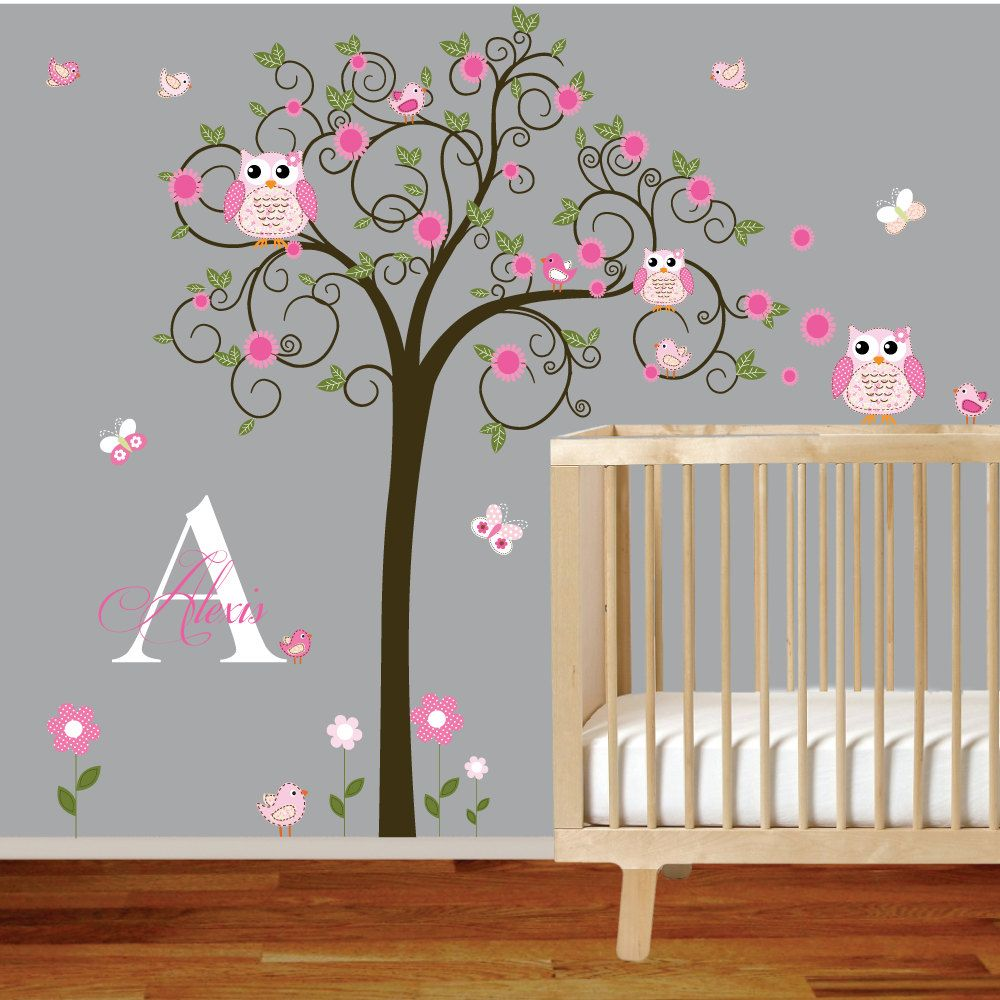 Tree Murals For Nursery | Tree Wall Decal Nursery Vinyl Wall Stickers  Flowers Owls Curl Tree Part 7