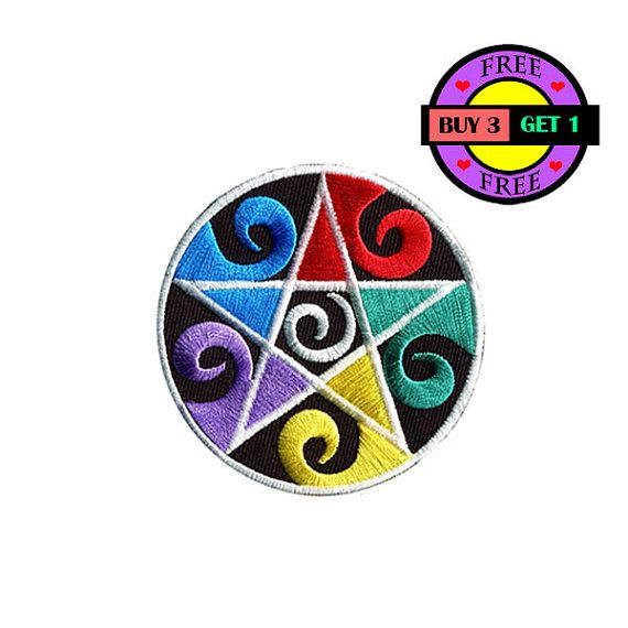 Colorful Pentagram star Embroidered Iron On Patch Heat Seal Applique Sew On Patches