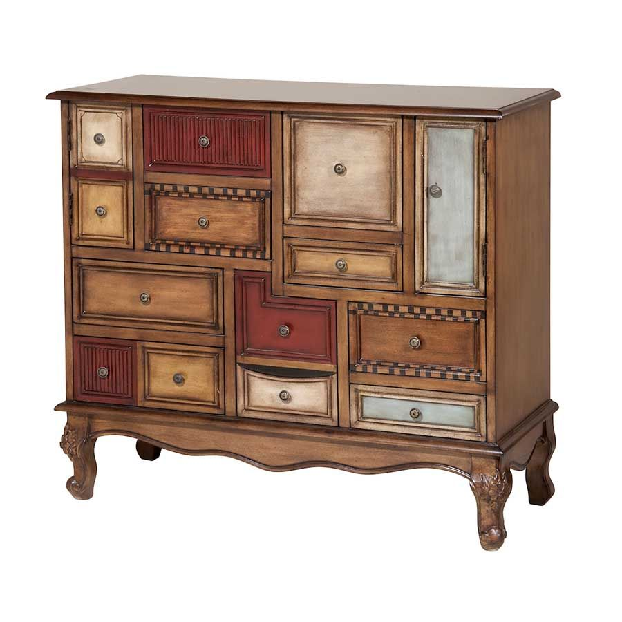 Furniture curio cabinets and chests accent chests two door multi door accent chest in wood tone and multicolor finish