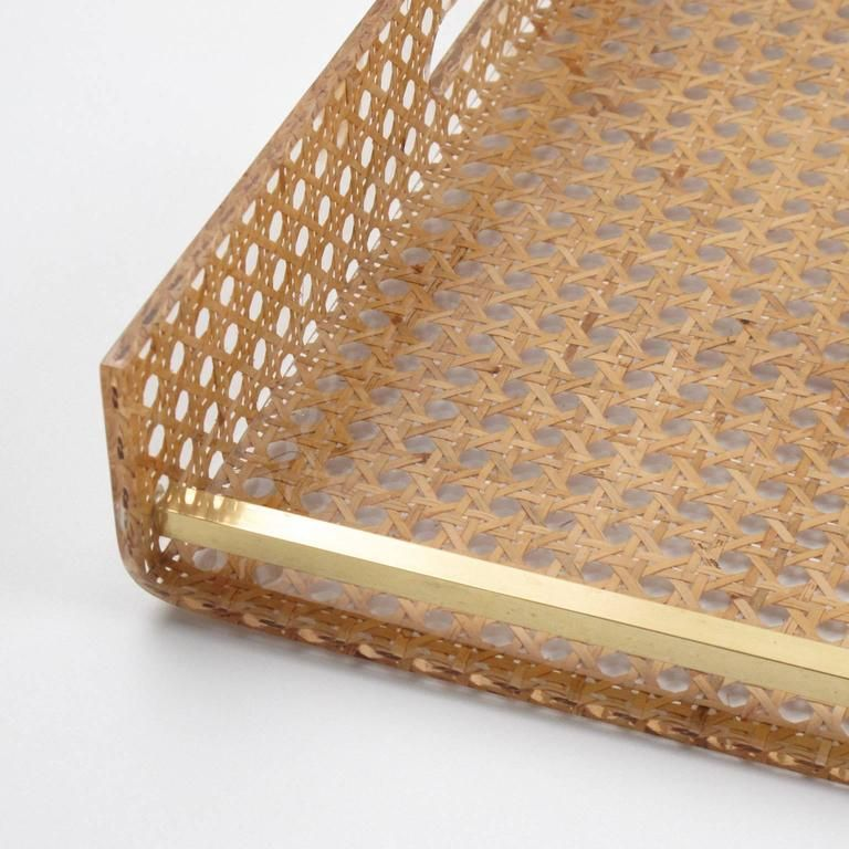 1bcd707663 1970s Lucite and Rattan Serving Tray by Christian Dior Home ...
