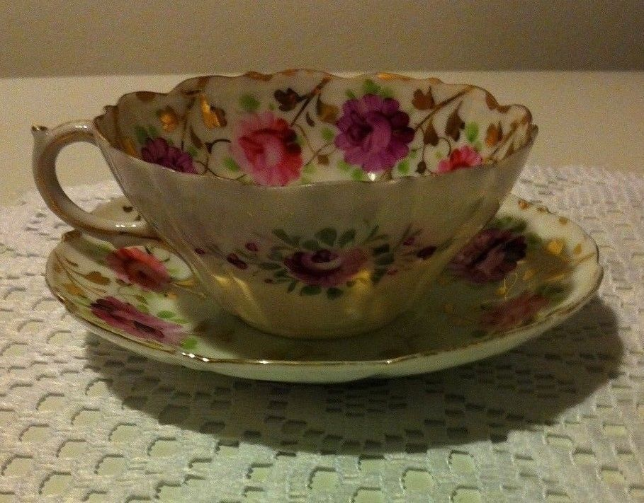 Vintage Unmarked Tea Cup And Saucer Beautifully Hand Painted Scalloped Lip Euc Antiques Decorative Arts Ceramics Porcelai Tea Cups Tea Teapots And Cups
