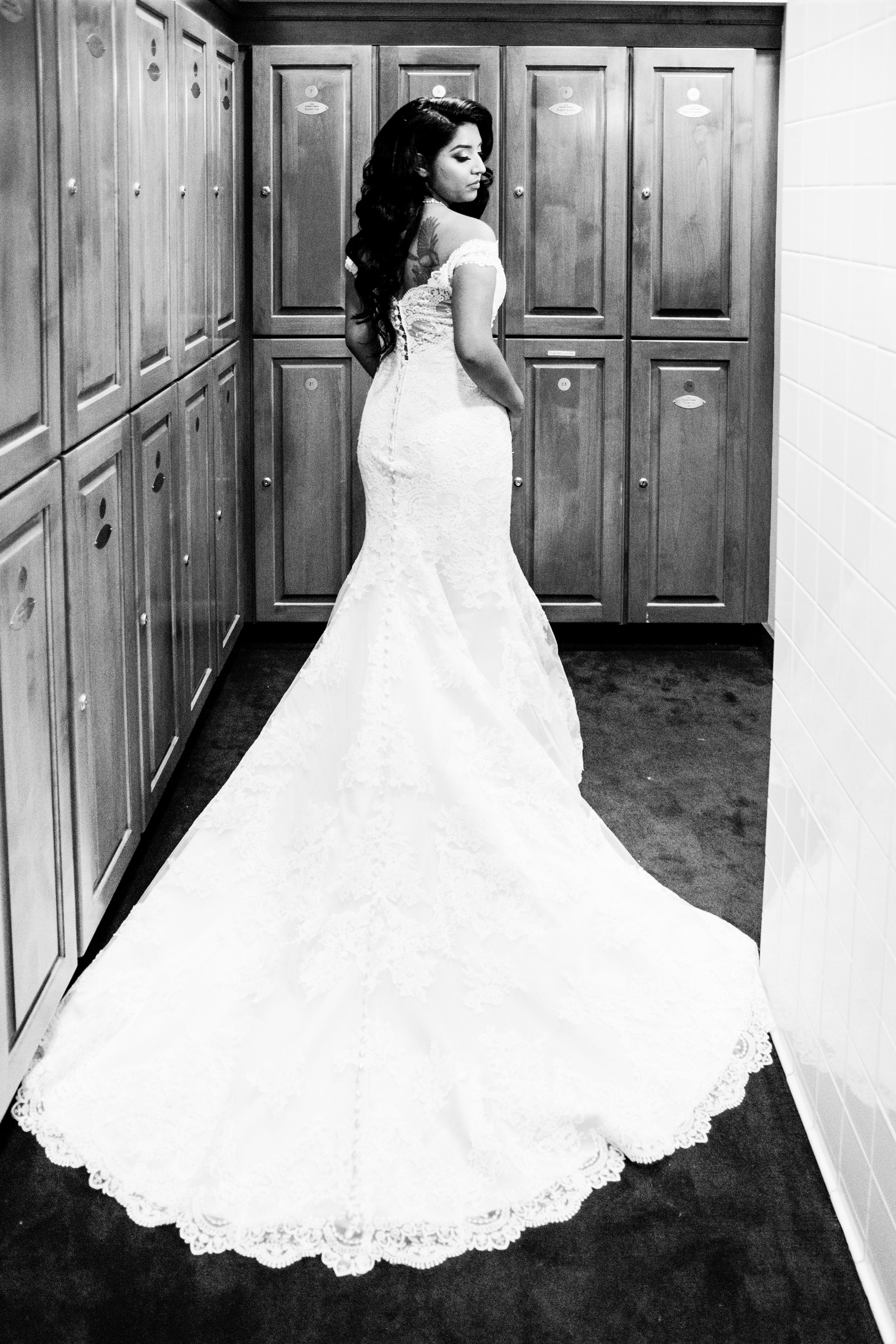Bride wedding dress back view happily ever aguilera