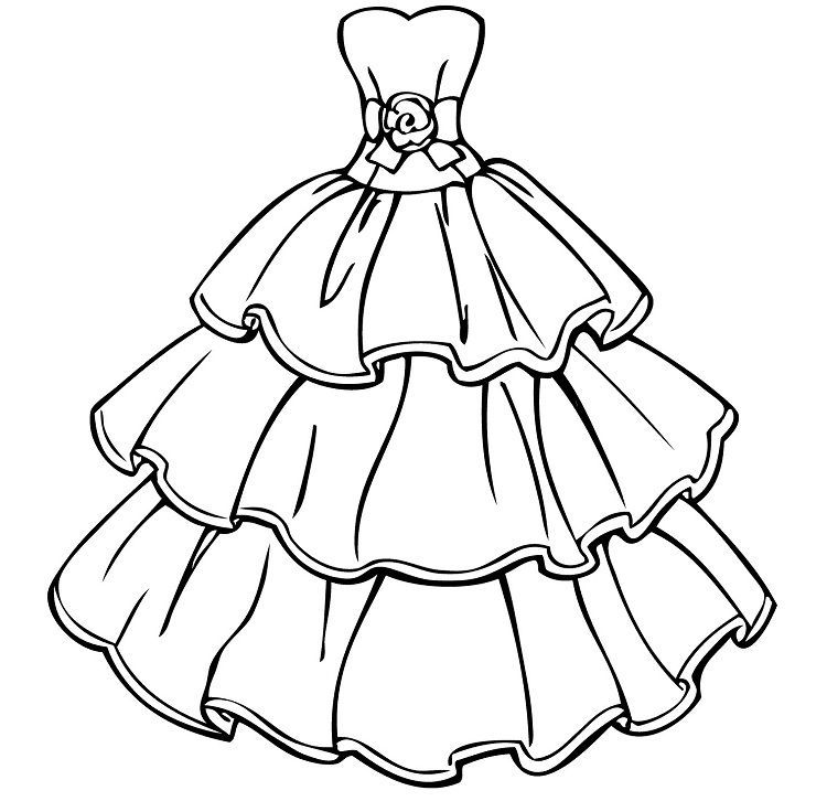Princess Dress Coloring Pages In 2020 Wedding Coloring Pages Barbie Wedding Dress Dress Drawing