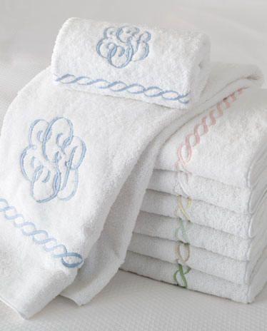 Embroidered Chain Bath Towels-Monogram Bath Towels