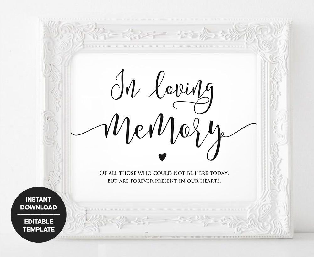 Memory Sign Printable, Wedding In Loving Memory Template ...