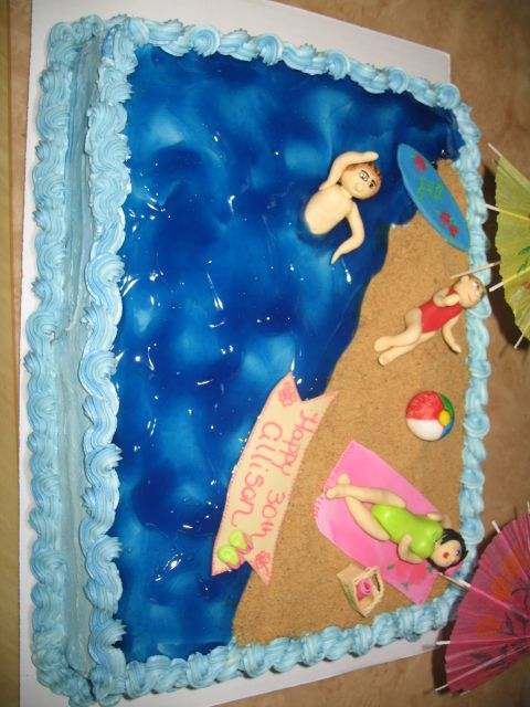 Marvelous Beach Themed Cakes For Kids Beach Theme Cake Custom Cakes Funny Birthday Cards Online Sheoxdamsfinfo