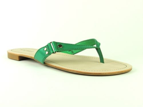 Nine West Women's Shoes RAISIN-R Very Green Leather Flat Thong Sandals Size 9.5