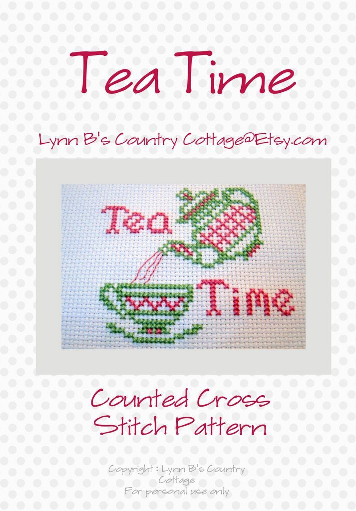 Tea counted cross stitch pattern pdf by LynnBsCountryCottage. $4.00 USD, via Etsy.