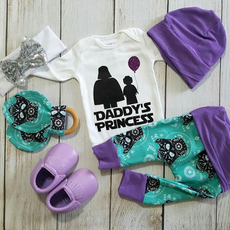 "Photo of ""Daddy's Princess"" Star Wars Darth Vader Baby Girl Coming Home Outfit Gift Set"