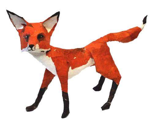 Little Fox Paper Mache Animals Paper Mache Sculpture Paper
