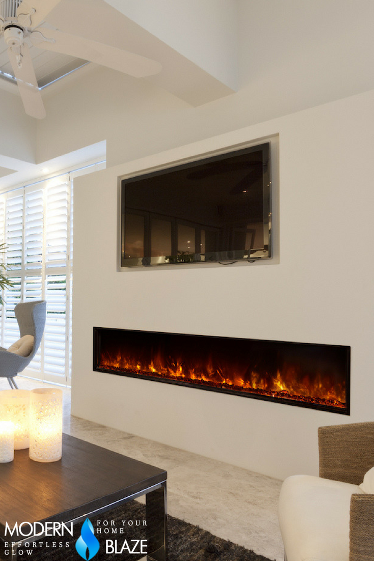 Modern ventless electric fireplace installed under a TV | Modern ...