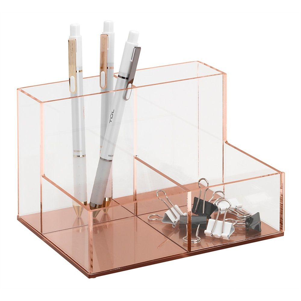 Acrylic 4 Compartment Desk Caddy 6 7 16 H X 5 1 16 W X 4 1 16 D Clear Rose Gold Desk Caddy Gold Desk Desk