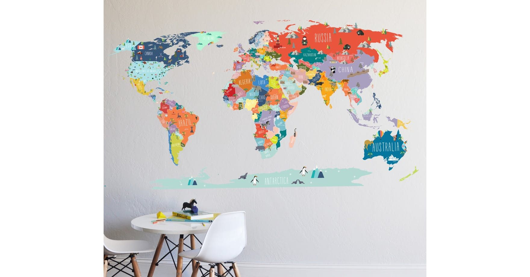 Interactive world map by the lovely wall co canada iceland and africa the lovely wall company world interactive map wall decal gumiabroncs Image collections
