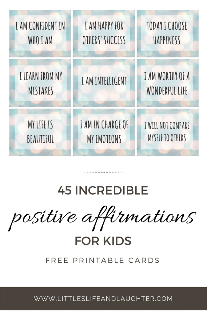 image regarding Printable Affirmations identify 45 Amazing Optimistic Affirmations for Children  Littles