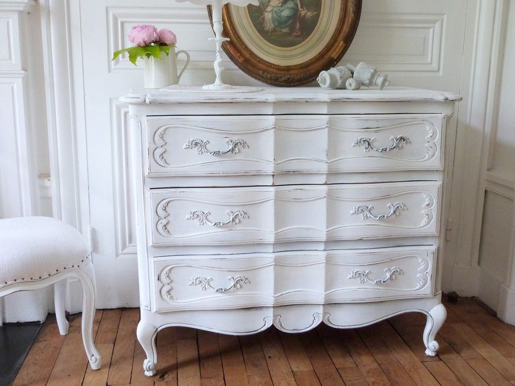 Commode arbal te louis xv patine blanc de blanc le - Meuble patine blanc ivoire ...