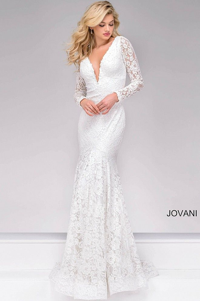 Jovani Dress 50026 Off White Lace Floor Length Fitted Long Sleeve V Neck Prom Dress Long Sleeve Evening Gowns Prom Dresses Dresses