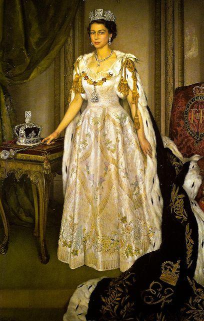 Queen Elizabeth Ii In Coronation Robes By Sir Herbert