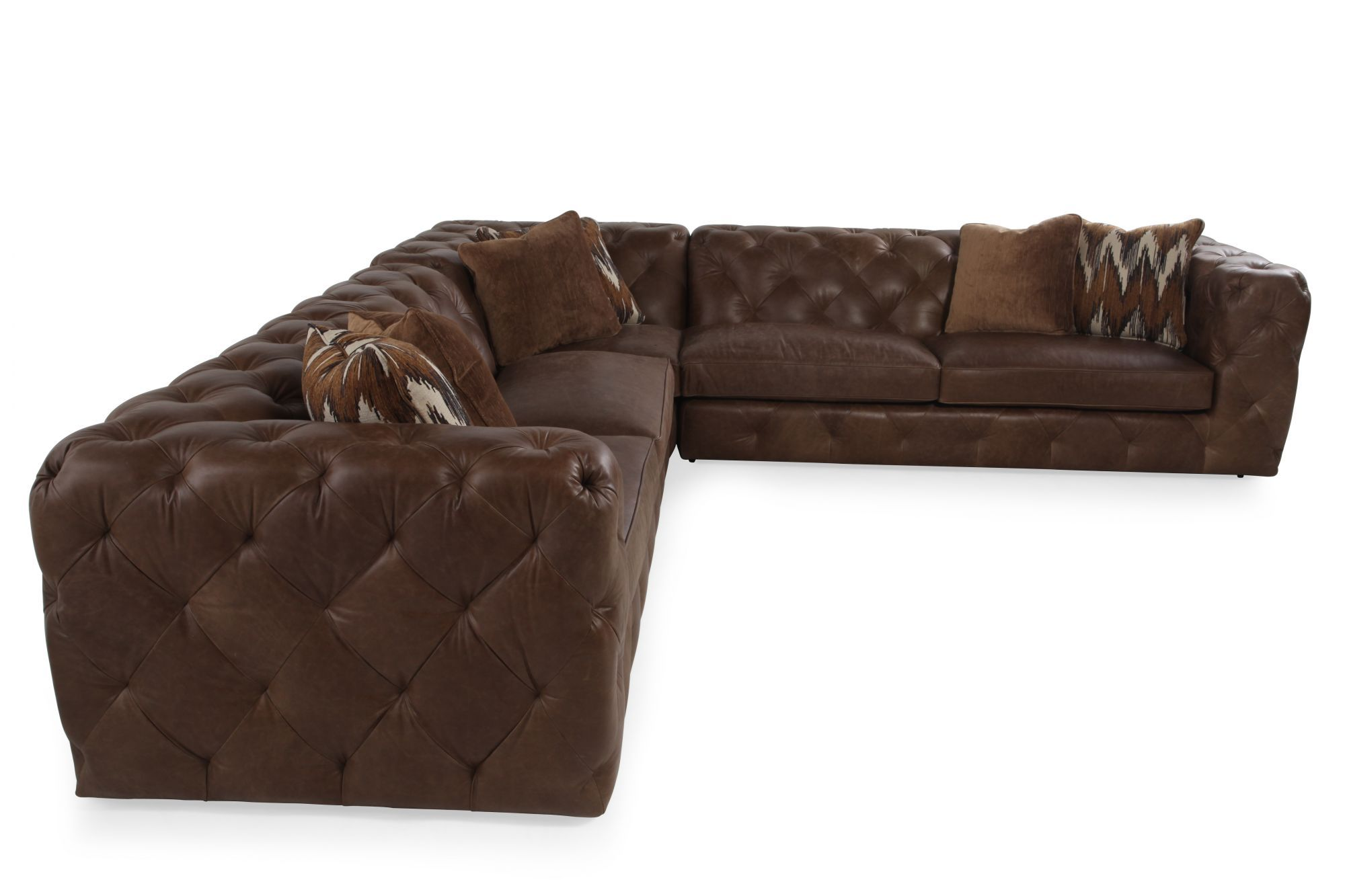 Bernhardt Chelsea Three Piece Leather Sectional Mathis Brothers