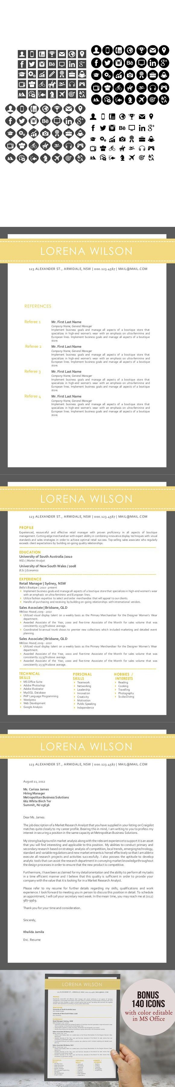 Brand Analyst Sample Resume Custom 3 In 1 Simple Banner Word Resume #resumedesignformsword .