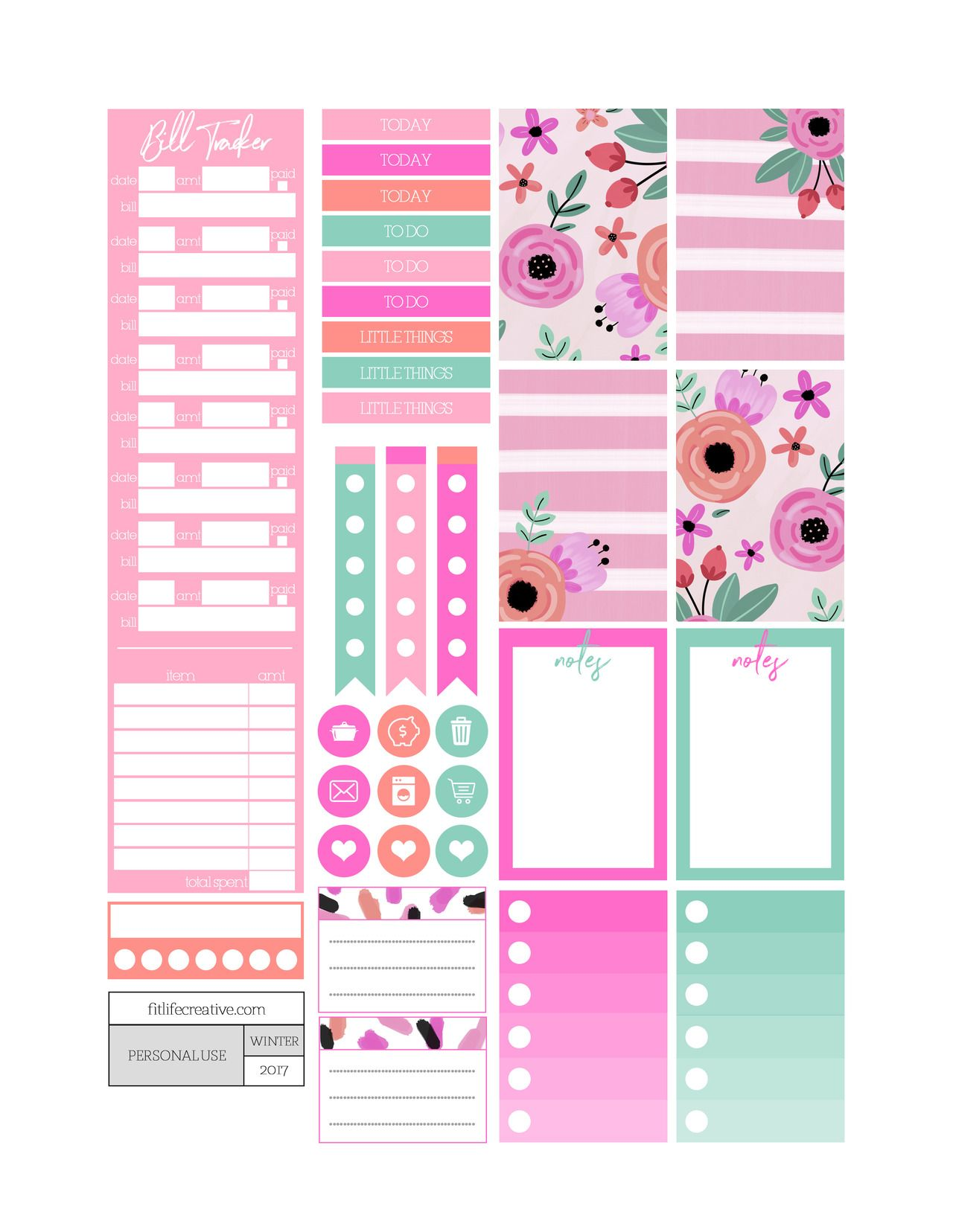 Holiday Hearts free printable monthly planner kit. Includes ...