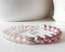 Pink Bridesmaid Bracelets Pearl and Crystal Beaded Jewelry Pink Pearl Bracelet Wedding Jewelry Bridesmaid Gift Pink and Silver Adjustable